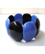 Vintage Lucite Black Blue Oval  Wide Stretch Br... - $24.00