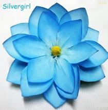Large Blue Silk Flower Spring Hair Clip  - $6.99
