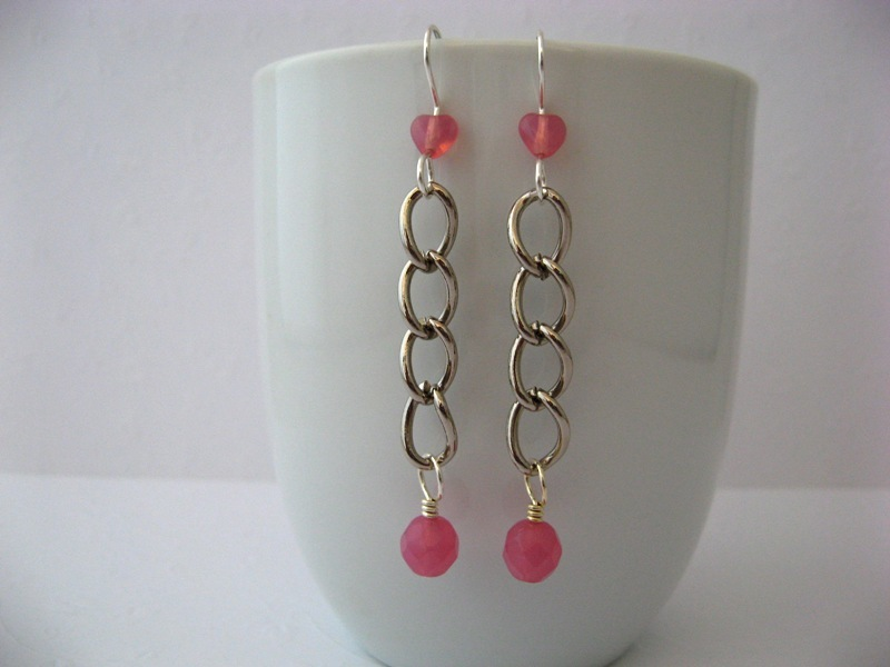 Chunky Function Chain Pink Glass Earrings Handmade by Chula