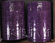 KKLL10K03 8 Dozen Purple Metal Bangles Choori with Glitter Handiwork