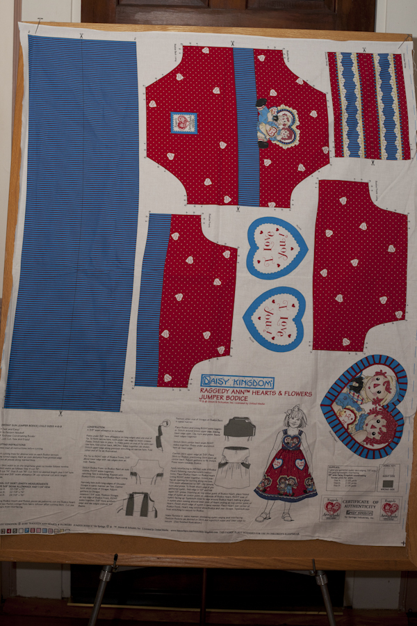 Primary image for Retired Daisy Kingdom 'Raggedy Ann' Heart and Flowers Jumper Bodice Kit Pannel