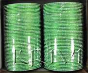 KKLL10G03 8 Dozen Green Metal Bangles Choori with Glitter Handiwork