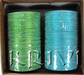 KKLL10A03 8 Dozen Green & Blue Metal Bangles Choori with Glitter Handiwork