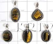 KWLL09029 Wholesale lot of 15 pc Tiger Eye Stone Pendants