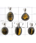 KWLL09029 Wholesale lot of 15 pc Tiger Eye Stone Pendants - $116.10