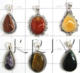 KWLL09027 Wholesale lot of 25 pc mix stone Pendants
