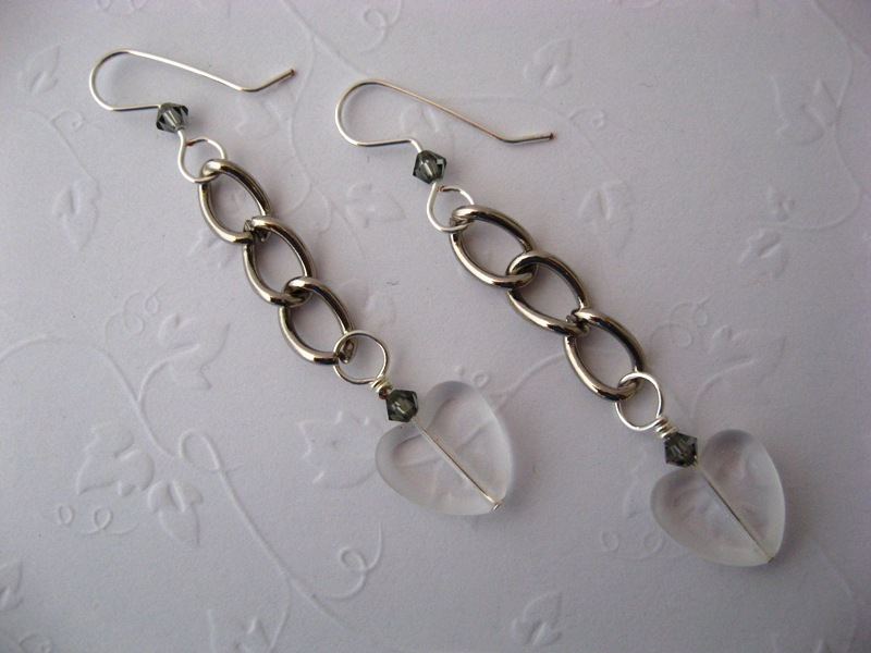 Chunky Function Chain Glass Heart Earrings Handmade by Chula