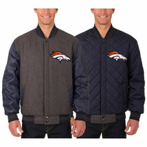Denver Broncos JH Design Wool & Leather Reversible Jacket with Embroidered Logos - $269.99