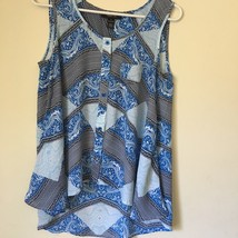 Style & Co Blue and white print trendy TOP BLOUSE. Misses Small. - $6.99