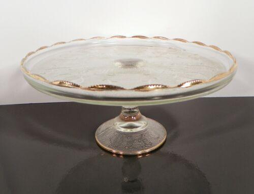 1950s Jeanette Glass Gold Rim Cake Stand Harp