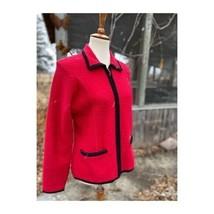 Vintage 70s 100% Wool Cardigan Sweater Full Zip Sz M Red Black - $88.11