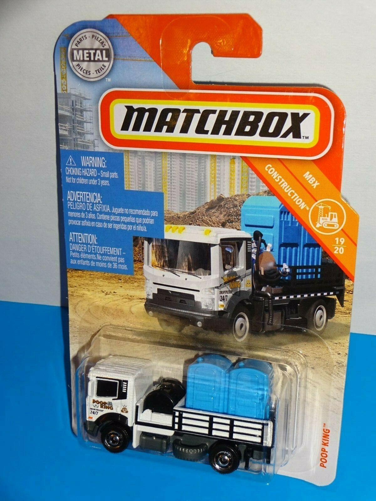Matchbox 2019 MBX Construction #22 Poop King White Port-A-Potty Transport Truck