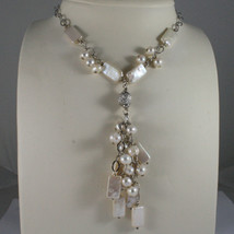 .925 SILVER RHODIUM NECKLACE WITH RECTANGULAR AND ROUND FRESHWATER WHITE PEARLS image 1