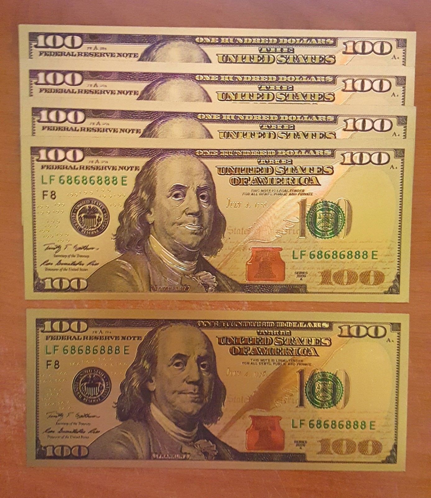 Primary image for 10 PACK - 24K .999 Pure Gold NEW SERIES $100 Dollar Bill BankNote - BU Condition