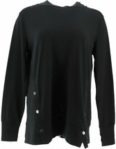 AnyBody French Terry Sweatshirt Side Snaps Black S NEW A367681 - $15.81