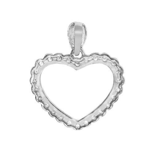14k White Gold Cubic Zirconia Fancy Open Heart Pendant