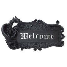 Dragon Welcome Sign Home Decor Figurine Handpainted Resin - $31.67