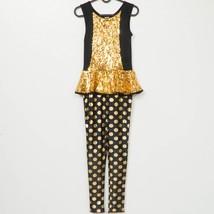 Weissman Gold Digger Unitard Dance Costume L Child Sequin Black Polka Do... - $25.73