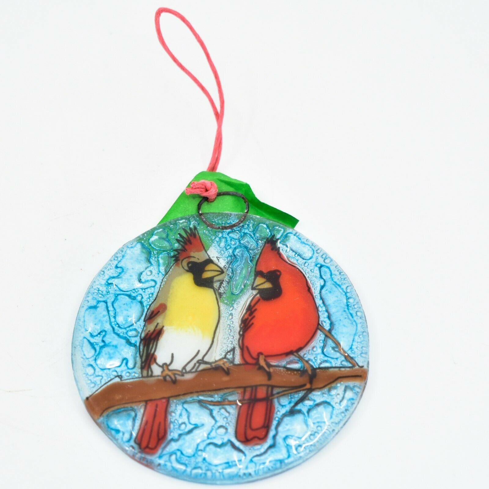 Male Female Cardinal Bird Fused Art Glass Ornament Sun Catcher Handmade Ecuador