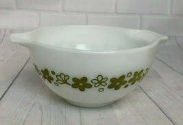 Vtg Pyrex #441 1.5 PT White Avocado Spring Bloom Crazy Daisy Nesting Mixing Bowl - $14.03
