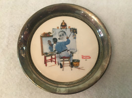 Gorham Norman Rockwell Ceramic Silver Plated Coaster Trinket Dish First Edition - $29.99