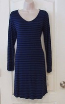 Apt. 9® Long Sleeve V-neck A-Line Dress BLACK/BLUE Women's Sz. S-M NWT M... - $24.20