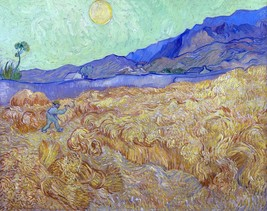 Wheatfield with a Reaper Painting by Vincent van Gogh Art Reproduction - $32.99+