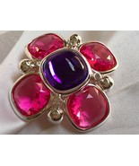 Joan Rivers XX Classic Silver tone Pink Purple Lucite Maltese cross Brooch Pin - $118.80