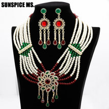 New Nigeria Bead Flower Jewelry Sets Resin Drop Earring Necklace Natural... - $34.65