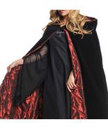 Gothic Vampire BLACK VELVET HOODED CLOAK CAPE Red Casket Lining Cosplay ... - $48.97