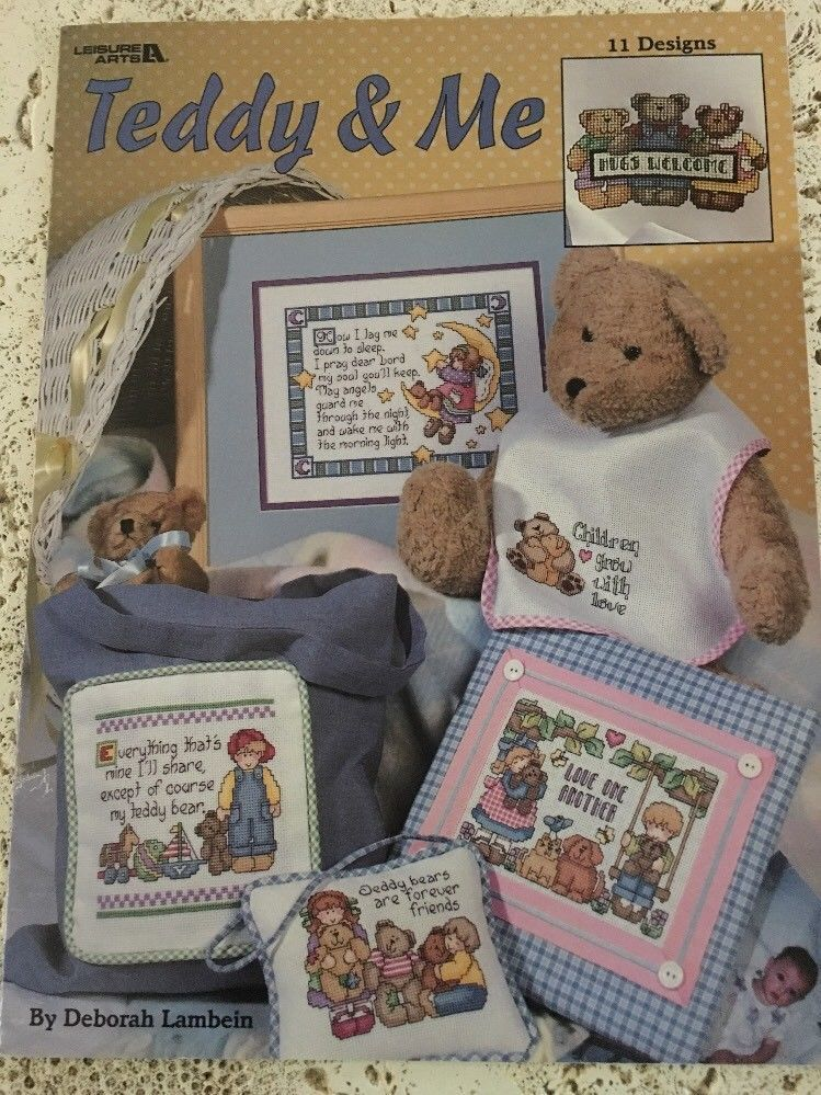 Teddy & Me Cross Stitch 11 Designs Leisure Arts by Deborah Lambein - $9.95