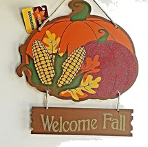 Fall Wall Hanging Sign plaque  Decor Pumpkin Autumm Fall leaves CBL - $9.99
