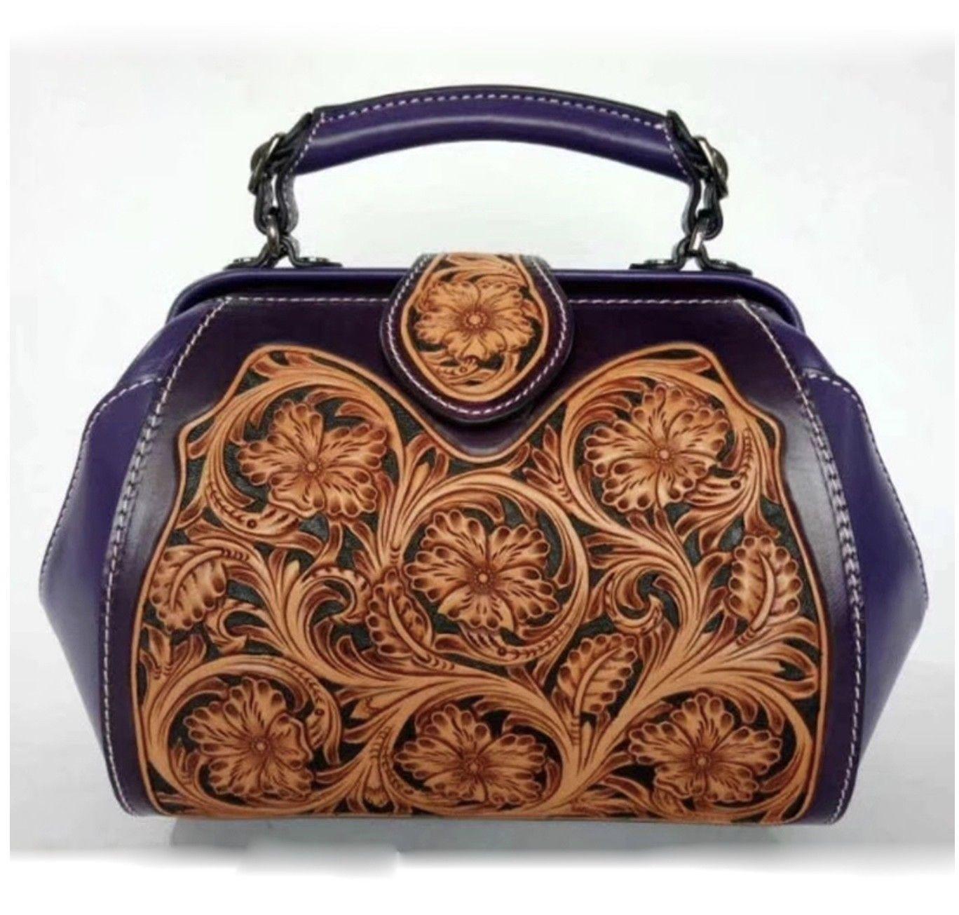 Western Floral Tooled Italian Leather Satchel Handbag Purse Shoulder Bag 2610