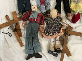 """Lot (10) Antique Handmade Marionette Doll Wood Resin 12.5"""" to 20"""" Man Woman image 6"""
