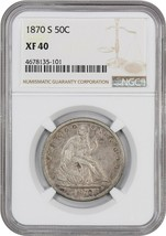 1870-S 50c NGC XF40 - Liberty Assis Demi Dollar - $480.15