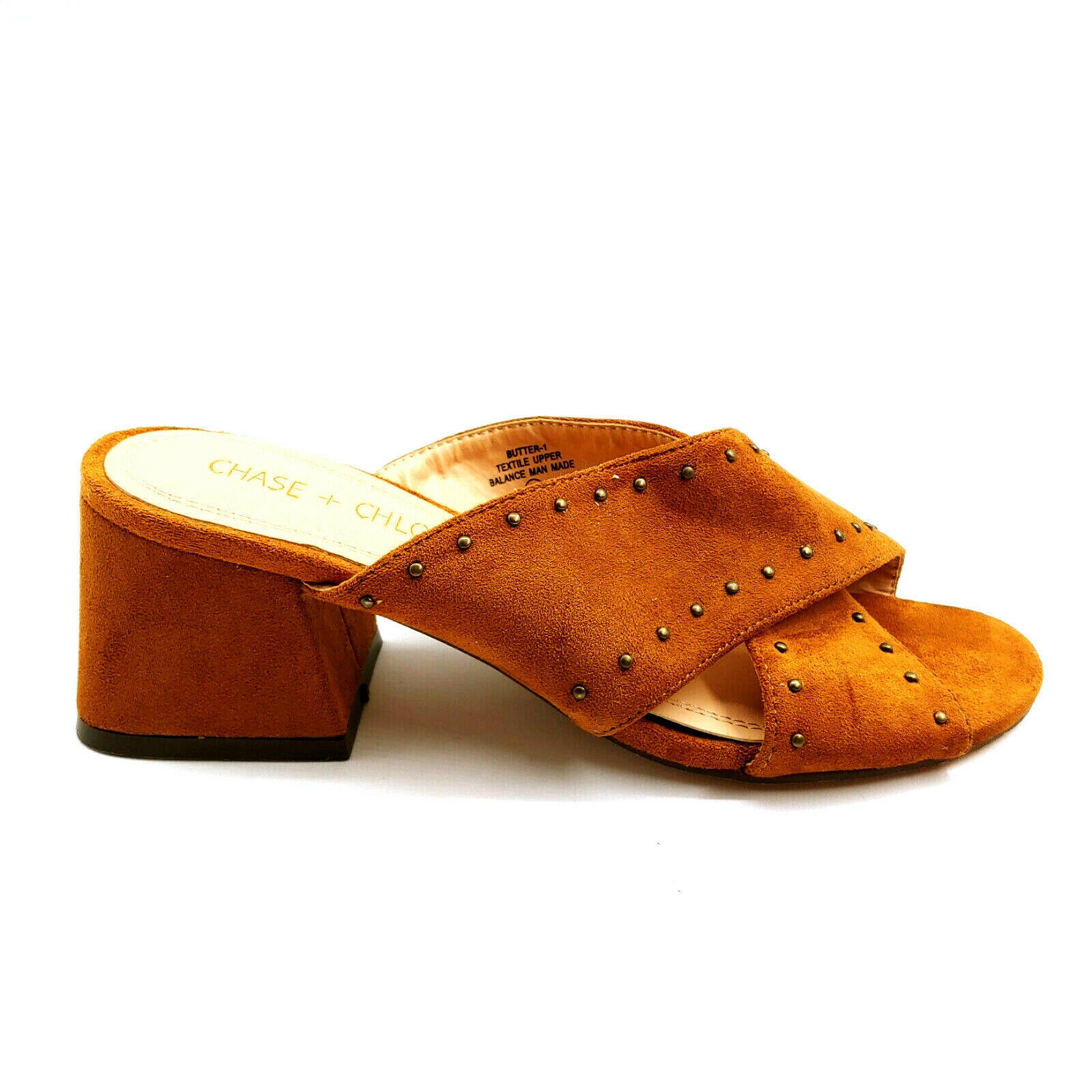 Chase & Chloe Woman Butter Cross Strap Slide Sandal Gold Faux Suede Sz 5.5 M  - $34.64