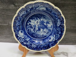Early HERCULANEUM Dark Blue Staffordshire Transferware Soup Plate Hunting Dogs - $98.01