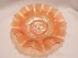 Diamond Carnival Glass Apple Blossom Marigold 7.5 in Bowl - $14.99