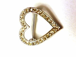 Delicate Rhinestone Heart Pin Vintage Pin - $11.39