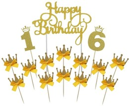 Gold Happy Birthday Cake Topper 16th Number Crown Cupcake Picks For Them... - $24.01