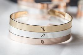 Personalized Zodiac Symbol Bracelet Horoscope Cuff Virgo Leo Gemini Aries Libra image 2