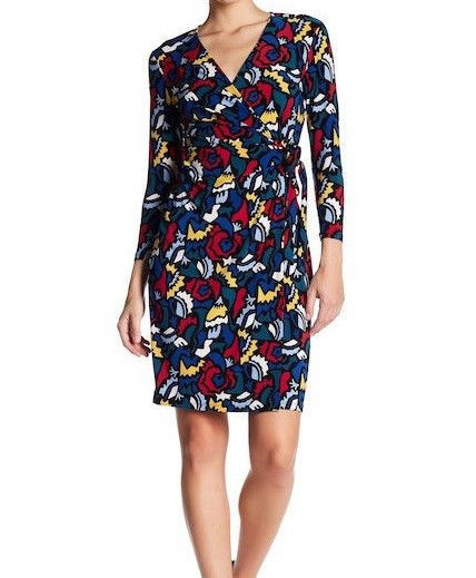 $99 Anne Klein Faux-Wrap Animal-Print Dress BlackCanoe Heather Multicolor M