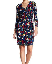 $99 Anne Klein Faux-Wrap Animal-Print Dress BlackCanoe Heather Multicolor M - $63.35