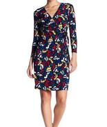 $99 Anne Klein Faux-Wrap Animal-Print Dress BlackCanoe Heather Multicolor M - $63.35