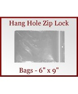 45 Zip Lock Recloseable Poly Bags with Hang Hole 6 x 9 FDA USDA Approved - $7.98