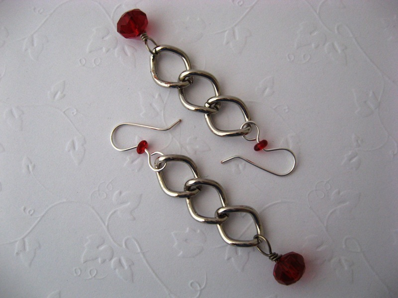 Chunky Function Chain Red Crystal Earrings Handmade by Chula