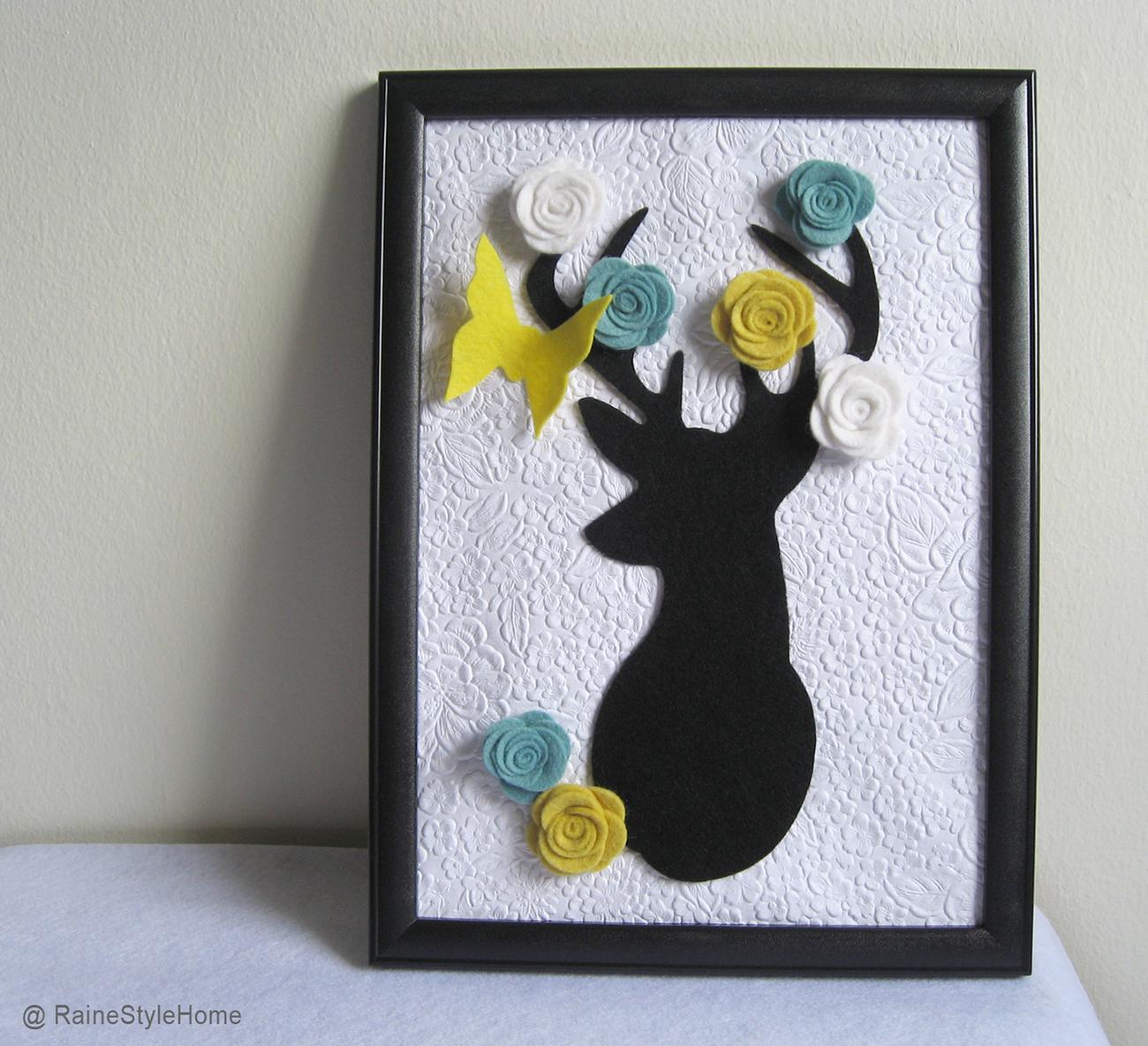 Framed Art Secret Garden. Deer Dreaming Of Spring. Wall Deco