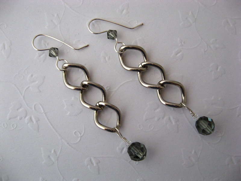 Chunky Function Chain Crystal Earrings Handmade by Chula