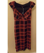 NWT BETSEY JOHNSON Red & Black Plaid Silk Wrap Dress Size 4 NEW (MAKE AN... - $169.29