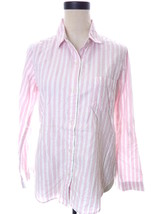 Victoria's Secret Striped Pajama Top Button Up White Pink Silver Small S - $9.99